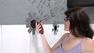 Michele James gives an incredible blowjob through a glory-hole