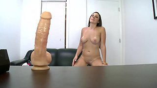 New girl amateur is inserting a dildo inside her pussy before a cock
