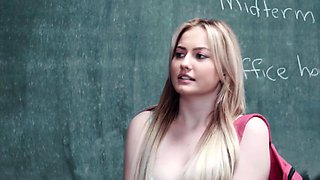 Student Britney gets banged using strap on