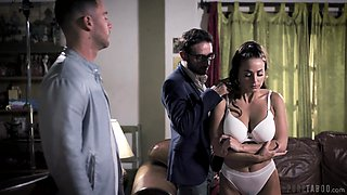 Two brutal guys fuck seductive babe Abigail Mac in mouth and pussy
