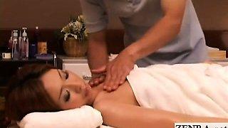 Subtitled Japanese cougar full body sensual oil massage