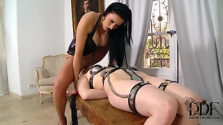 Isla and Lucia Love in lesbian bondage scene