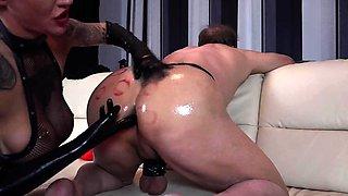 Femdom misstress dominates toying her sub