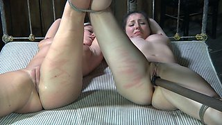 Duo of tied up naughty chicks rest in 69 pose and got dildo attacked hard