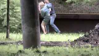 Pissing voyeur blonde chick in a public park