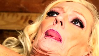 Lusty blonde grandma enjoying pussy drilling
