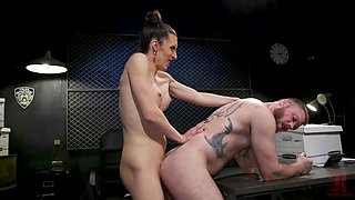 Kinky transsexual lady Melanie Brooks loves getting a nice blowjob from stud