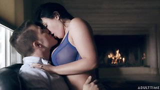 Juicy babe with G-cup boobs Angela White is making love with her new boyfriend