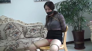 Chinese lady strict bondage and pantyhose gag