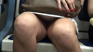 Elegant Russian ladies with sexy long legs upskirt in public