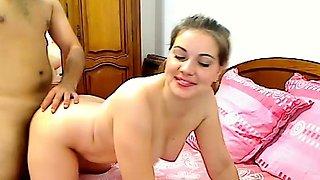 Next door housewife swallows cum on webcam