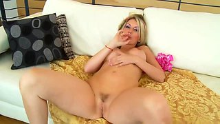 Big Titted Blonde Is Rubbing Her Clit While Getting Fucked On The Couch, To Spice It Up