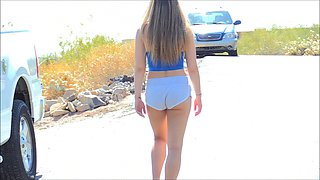 American hottie decides to get totally naked at the public places