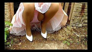 Summer dress nylon stockings at the farm