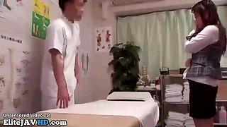 Japanese pervert masseuse satisfies office lady