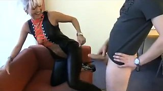 Sultry German milf in latex feeds her lust for hardcore sex