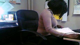 Candid Busty Black Secretary