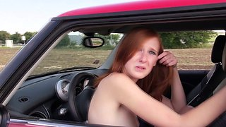 Pulled redhead hottie naked in the car