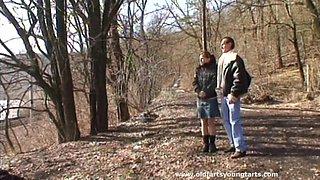 Forest sex between and older pervert and younger hottie Regina F