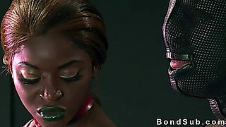 Ebony mistress fucks her slave with gimp mask