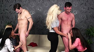 Busty british femdoms humiliate subs in group