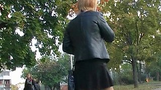 Tan hose up petticoat of blond in high heels