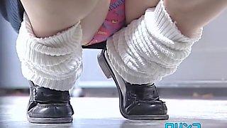 Hunkering girls exposing their cute panties on voyeur camera