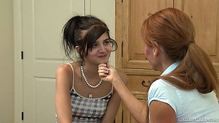Clothed lesbian play with Janet Mason and Zoey Kush