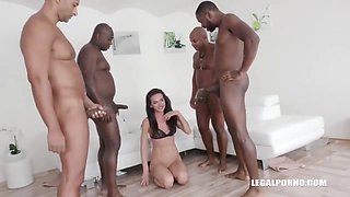 Serves Three Well-hung Black Dudes For Pissing And Double Penetration - Nataly Gold