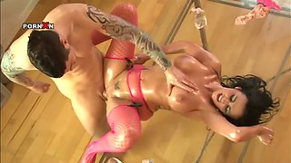 Busty brunette whore gets her pussy fisted and fucked hard