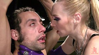 blonde dominatrix fucks her sex slave