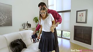 Nerdy college chick Tara Ashley gets her pussy fucked by strict step daddy