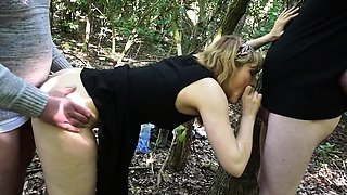 Dogging blonde wife banged by strangers outdoors