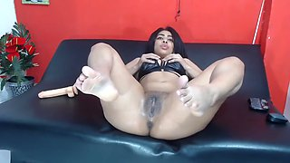 Bitch spreading her ass with dildo