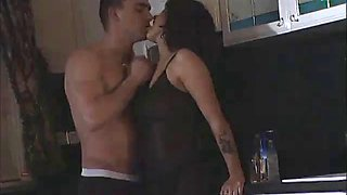 Busty asia d&#39argento fucks in kitchen