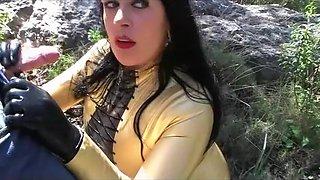 Golden Latex Dream - Blowjob Handjob with Black Latex Gloves - Cum on my Latex Shirt