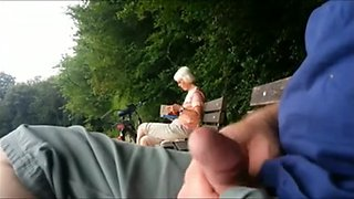 Teaser - Public ejaculation for Granny in the park