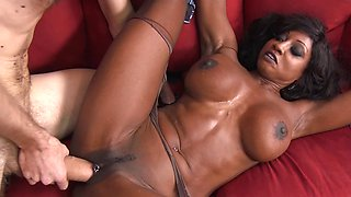 A black woman with a fit body is getting penetrated hard today