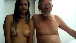 Horny old man has a sweet young brunette blowing his cock