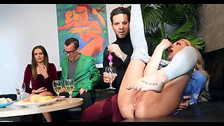 Horny Blonde Tiffany Watson Squirts At Dinner Party