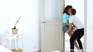 Young couple is making love when nobody is home
