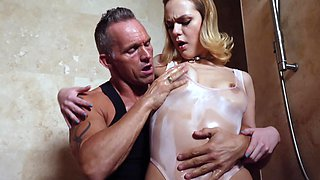 Older gentleman loves covering his lover in oil before stuffing her
