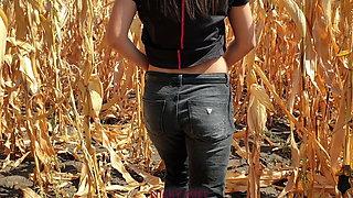 He cums in my panties in a cornfield