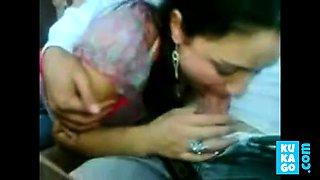 Beautiful Arab girl sucking in the car