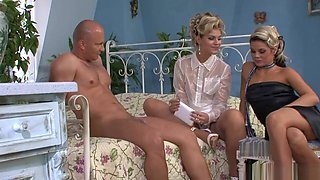 Two Girls Get Fucked in Shiny Glossy Tan Nylon Pantyhose and Stockings