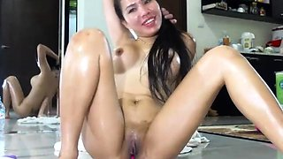 Pregnant asian babe with big lactating boobs