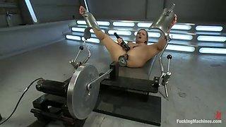katja kassin works up a sweat fucking with machines