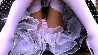 Outdoor Satin Panty Upskirt