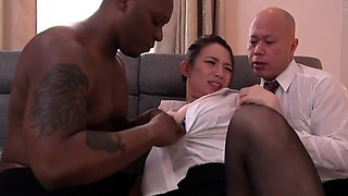 Mature Japanese wife introduced to interracial cuckold sex