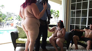 2 BBWs get cop in biracial group sex HD